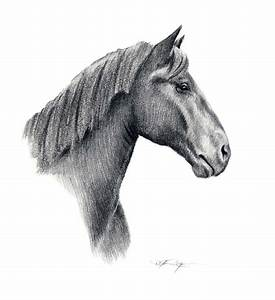 PERCHERON HORSE Pencil Drawing Art Print Signed by Artist DJ