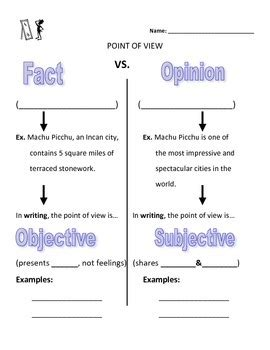 fact vs opinion and objective vs subjective worksheet