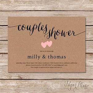 rustic couples shower invitation kraft couples wedding With who do you invite to a couples wedding shower
