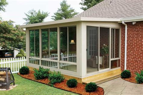Enclosed Patio by Enclosed Patio With Flat Roof And Furniture Outdoor