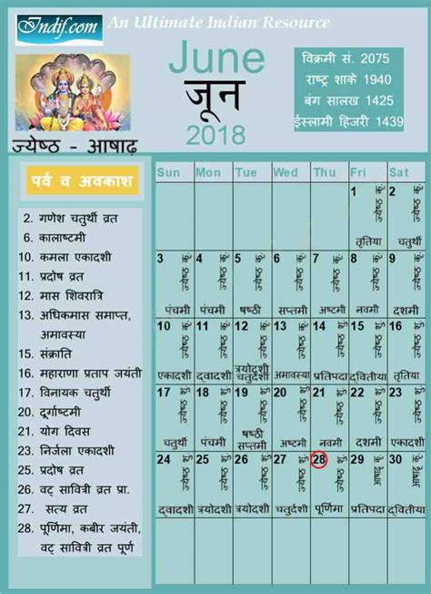 june indian calendar hindu calendar