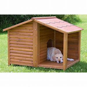 Rustic large outdoor all weather durable covered porch for Large dog house with porch