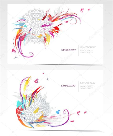 backgrounds  flowers vector business card set