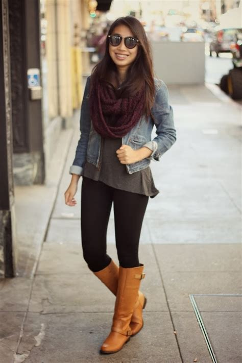 Joyce C - Asos Burgundy Scarf Denim Jacket Forever 21 Gray Tee Forever 21 Black Leggings ...