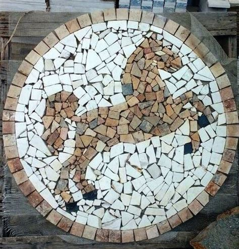 tapete mosaico decorativo caballo en marmol