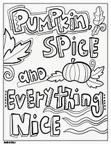 Coloring Fall Pages Doodle Pumpkin Spice Nice Everything Alley Thanksgiving sketch template