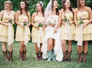 Western boots with bridesmaid dresses wedding dresses for Wedding dresses with cowgirl boots