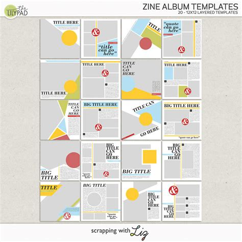 Zine Template Digital Scrapbook Template Zine Album Templates