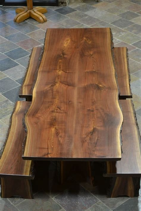 Custom Made Live Edge Walnut Slab Dining Table   Beth