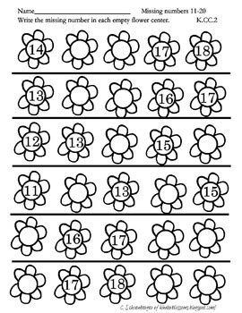 missing numbers 11 20 by christina s kinder blossoms tpt
