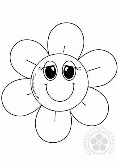 Flower Smiling Coloring Cartoon Flowers Daisy Three