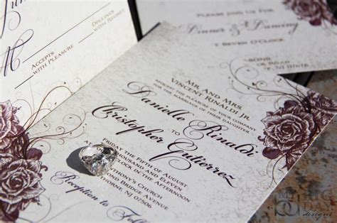vintage wedding invitations swirling and