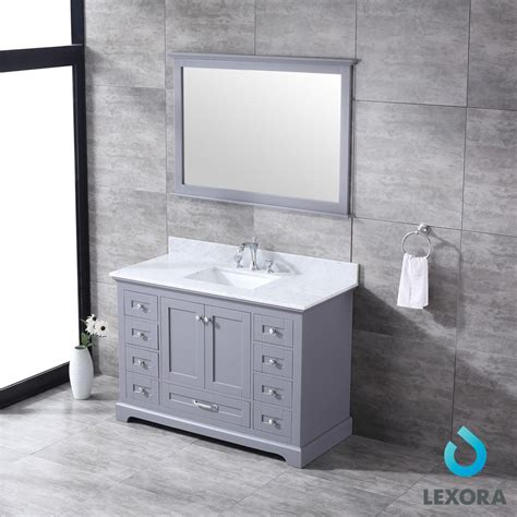 dukes   single vanity dark grey white carrera marble