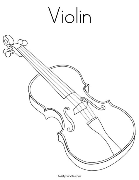 violin coloring page twisty noodle