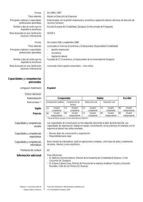 curriculum vitae europeo ejemplo modelo de curriculum vitae