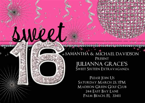 sweet 16 invitations templates sweet sixteen invitations sweet 16 invitation templates with black and pink background