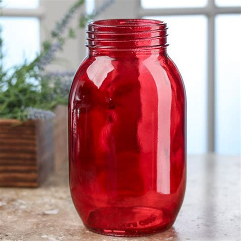 Red Glass Canning Jar   Kitchen and Bath   Home Decor