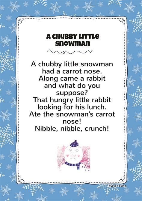 snowman chubby little lyrics song printable poem christmas songs childrenlovetosing pdf