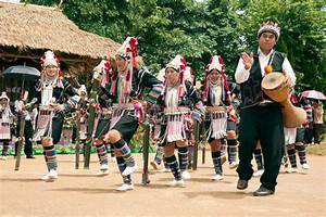 Hill Tribe Dancing In Akha Swing Festival. Editorial Stock ...