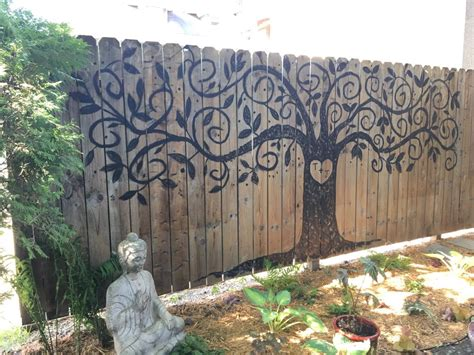 tree  life painted fence landscaping pinterest