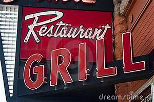 Neon Restaurant Grill Sign Stock Image Image