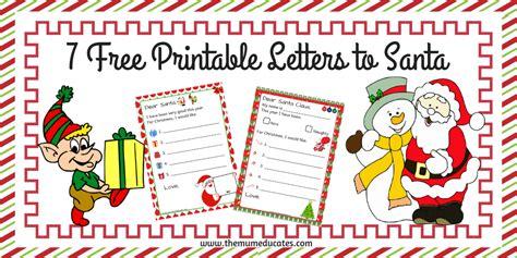 printable letters  santa  mum educates