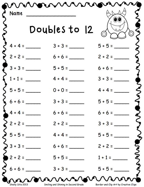 doubles to 12 pdf add and subtract math math