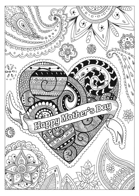 mother  day  mothers day adult coloring pages