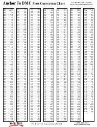 Dmc Embroidery Floss Conversion Chart Conversion Charts Pdf Templates Download Fill And Print