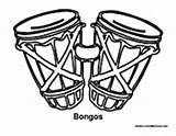 Bongos Percussion Coloring Drums Music Pages Template Sketch sketch template