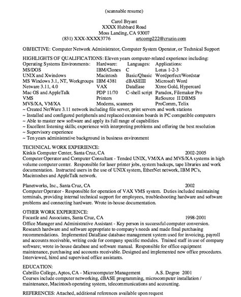 network support resume 28 images network administrator