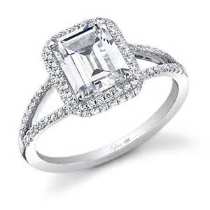 split shank halo engagement rings glamorous emerald cut split shank engagement ring