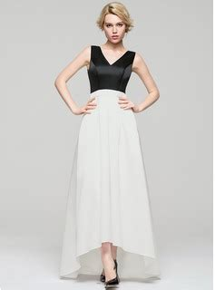 lineprincess  neck asymmetrical satin evening dress