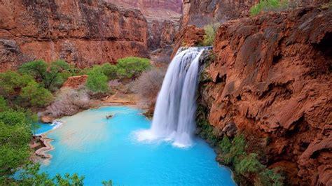 grand canyon arizona usa havasu falls blue green waters