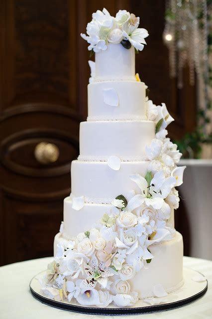 tier wedding cake  sugar flower cascade flickr