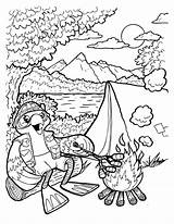 Coloring Camping Pages Themed Summer Printable Clients sketch template