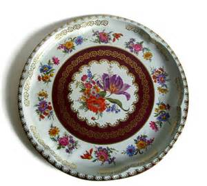vintage tray daher decorated ware tin serving tray floral tray burgundy gold