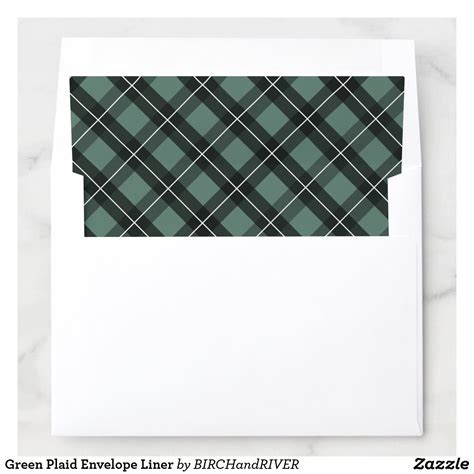 green plaid envelope liner zazzlecom  images