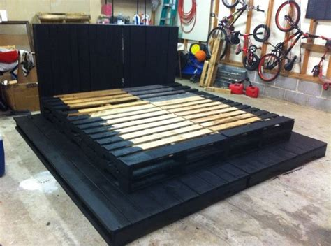 king size pallet bed   painting