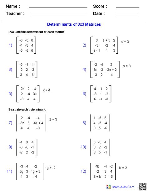 matrices worksheets and answers algebra 2 worksheets matrices worksheets