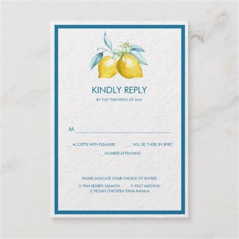 Lemon Citrus Wedding RSVP Bright yellow bold blue offer