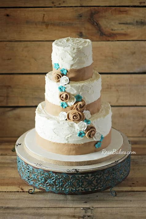 rustic burlap turquoise flowers wedding cake rose bakes