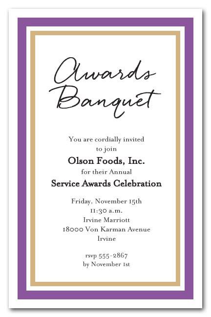 purple  gold border business party invitations