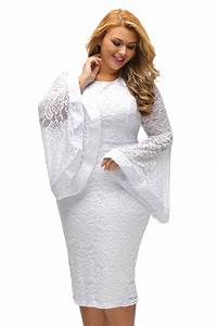 Wholesale White Plus Size Bell Sleeves Lace Dress