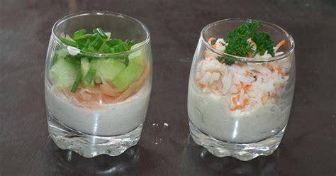 recette verrine de saumon fume concombre surimi en video