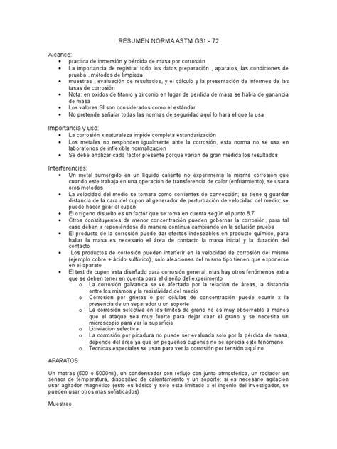 Reseumen Norma ASTM G31-72 | Corrosión | Oxígeno