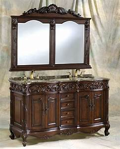 60, U0026quot, Adelina, Antique, Style, Double, Sink, Bathroom, Vanity, In, Walnut, Finish, With, Coral, Brown, Granite