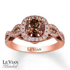 chocolate engagement rings le vian engagement ring 1 1 3 cttw diamonds 14k strawberry gold
