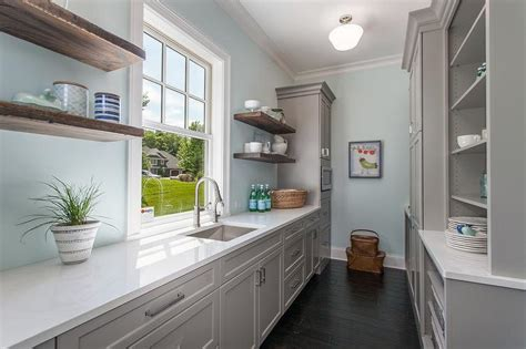 White Cabinets With Black Pantry Shelves