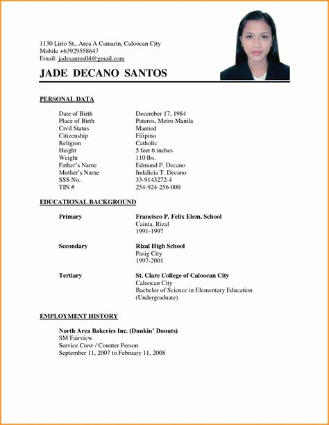 15728 simple format for resume sle of simple resume format unique applicant throughout